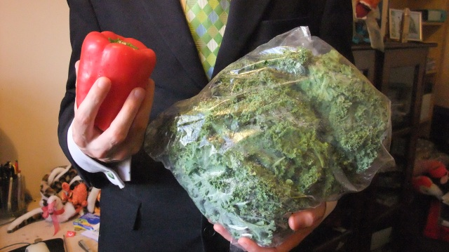 James modelling Red pepper and Kale whilst wearing his most horrendous tie.